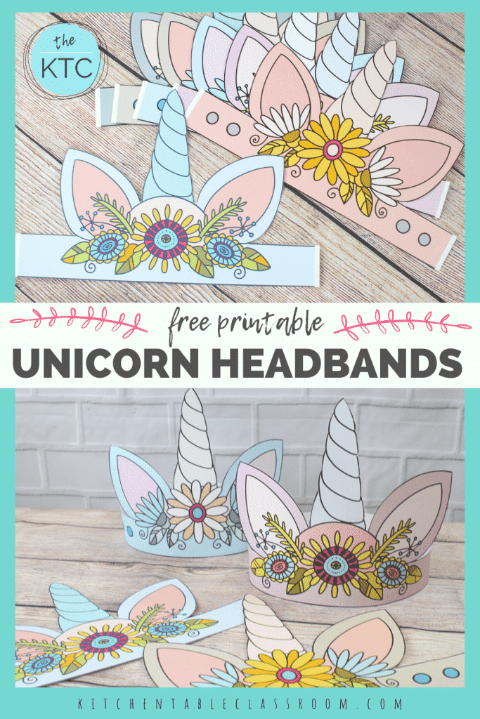 six different pastel colored printable unicorn headbands