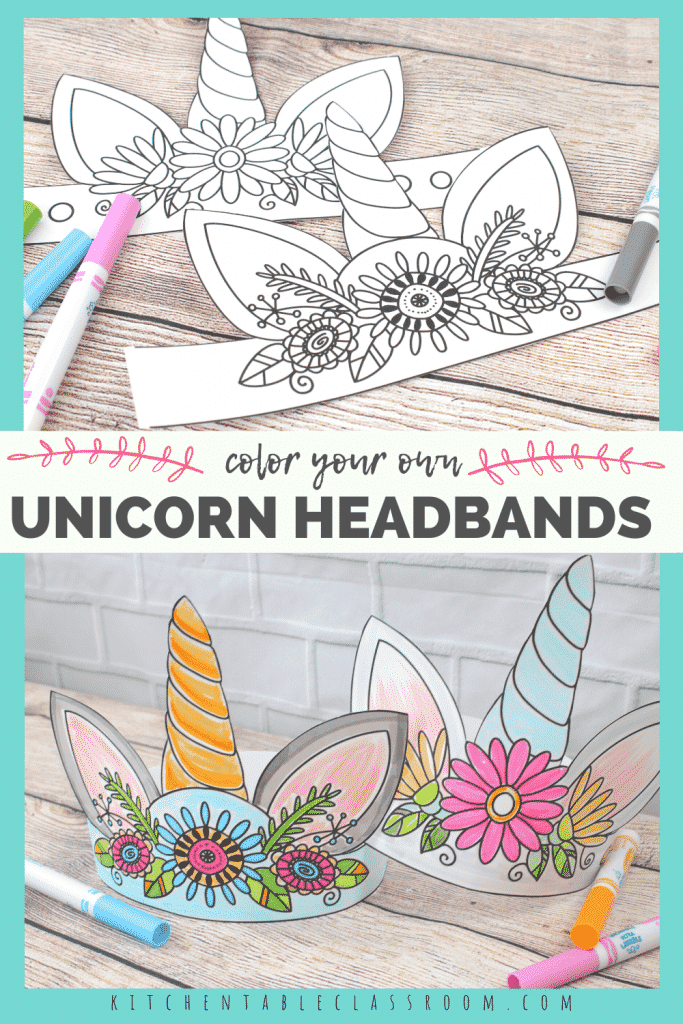 unicorn headbands to print and color