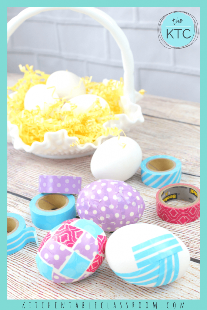 decorate Easter eggs with colorful paper Washi tape