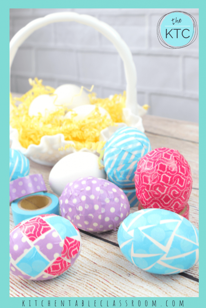 no mess Easter eggs decorated with Washi tape