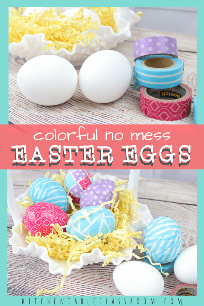 colorful Easter eggs decorated with Washi tape