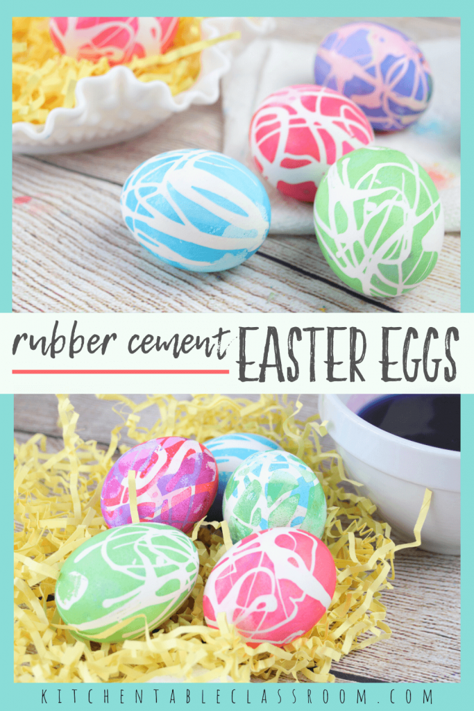 brightly colored Easter eggs decorated with egg dyes and rubber cement