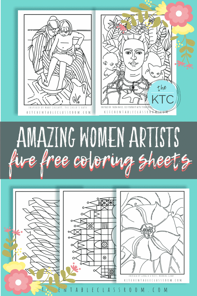 coloring sheets for kids about great women artists