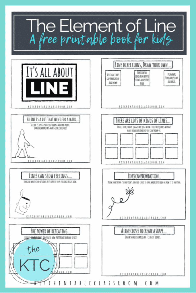 printable book for kids about the element of line