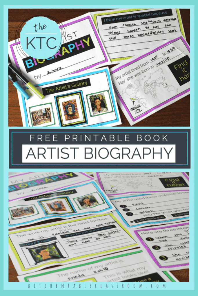printable artist biography book for kids to fill in about their favorite artist