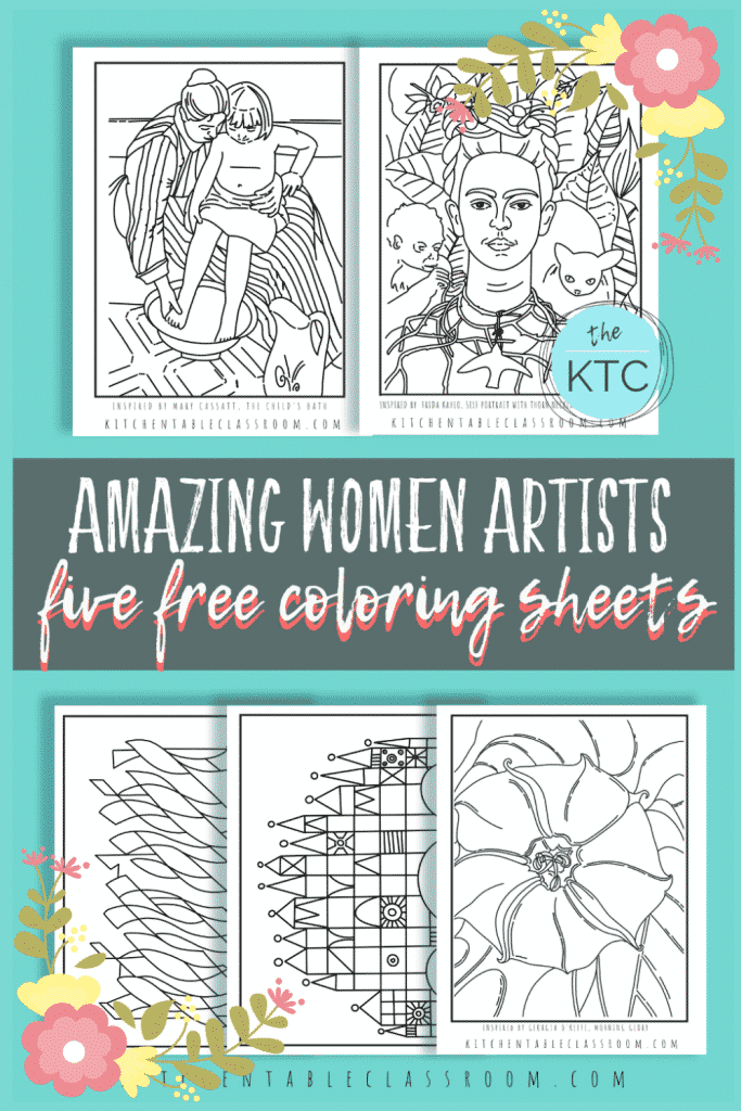famous women artist inspired coloring pages