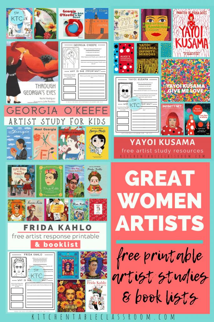 artist studies of great women artist including Georgia O'Keefe, Frida Kahlo, and Yayoi Kusama