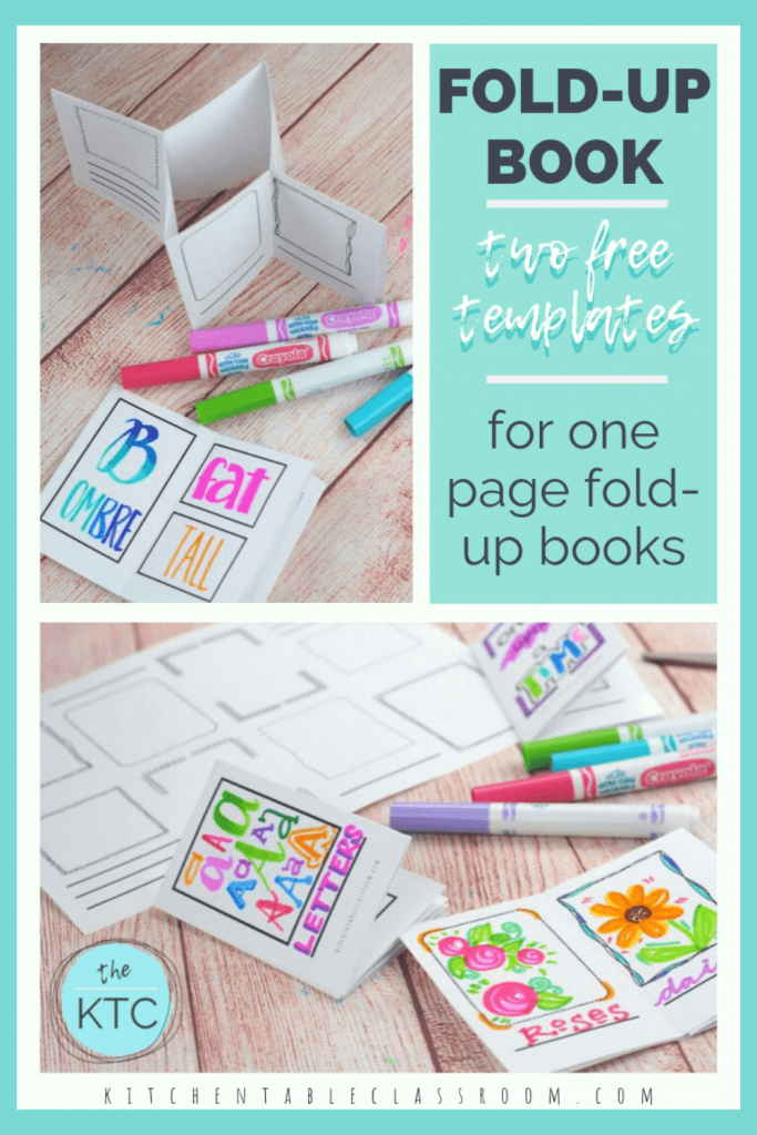 printable template to make a one page fold up book