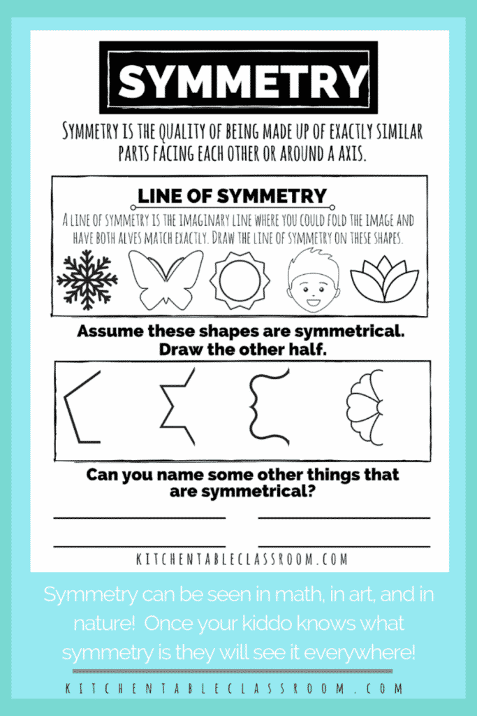 printable worksheet for kids to teach the concept of symmetry