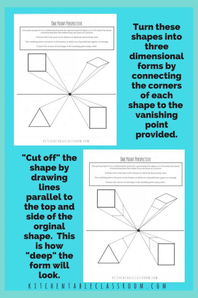 printable worksheets for kids to teach the concept of one point perspective