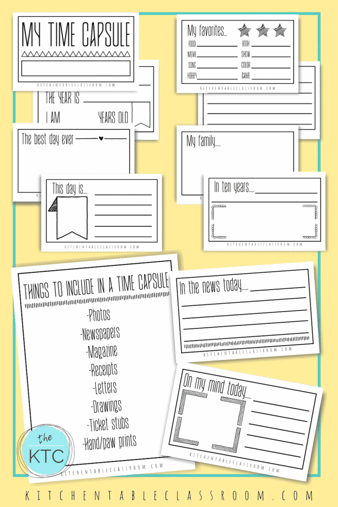 Free printable time capsule ideas for kids