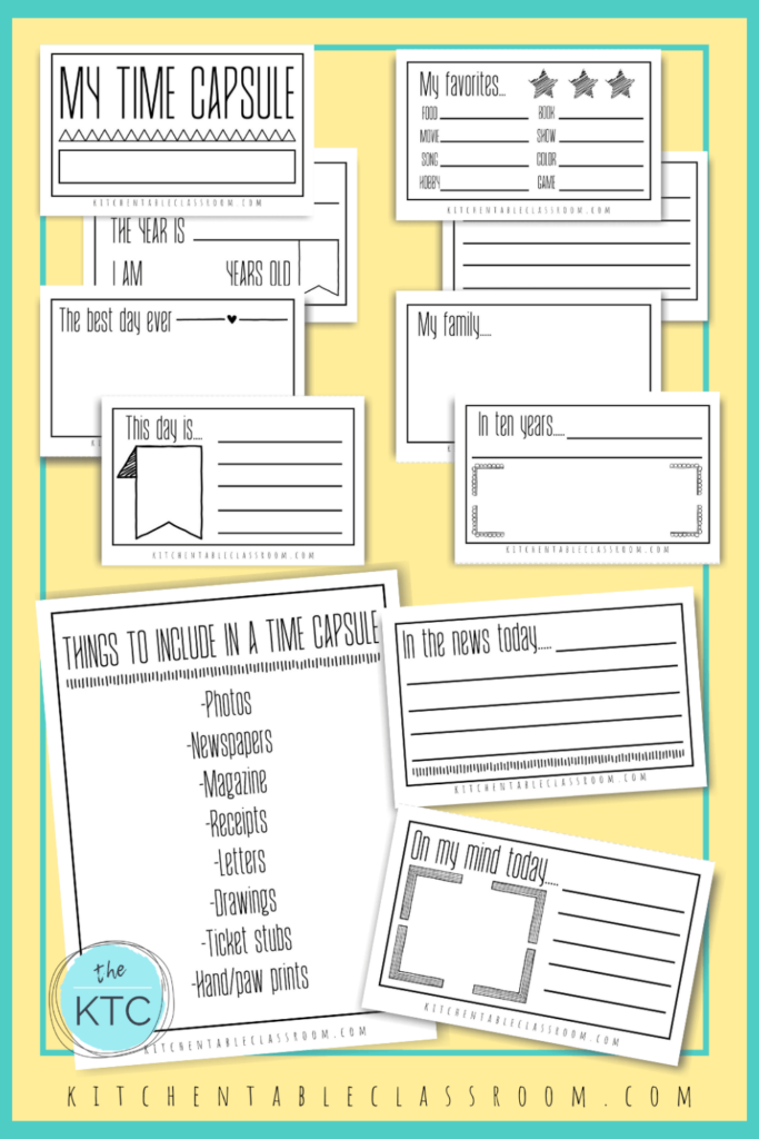 Printable writing prompts for kids- make your own time capsule printables