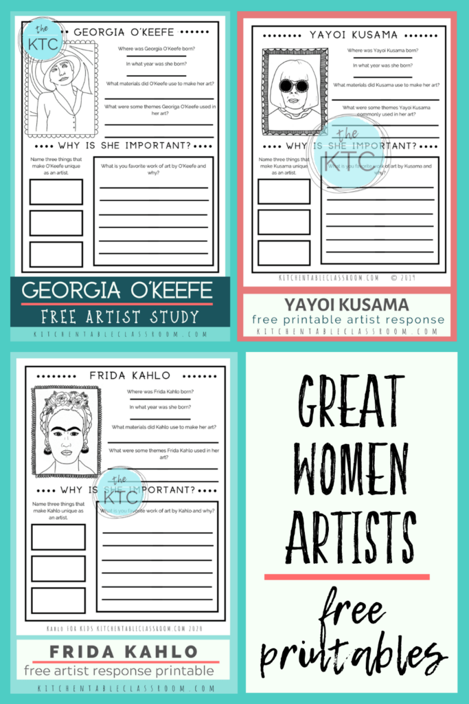 Printable writing prompts for kids- artists studies about great women artists including O'Keefe, Kusama, and Kahlo