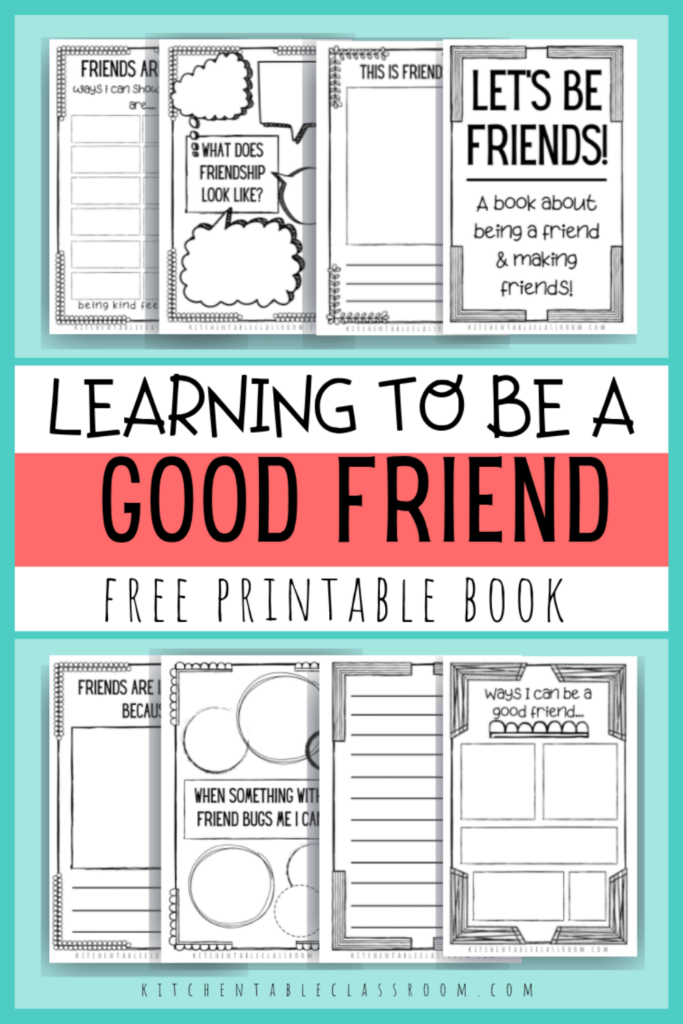 Printable writing prompts for kids- printable how to be a good friend book for kids
