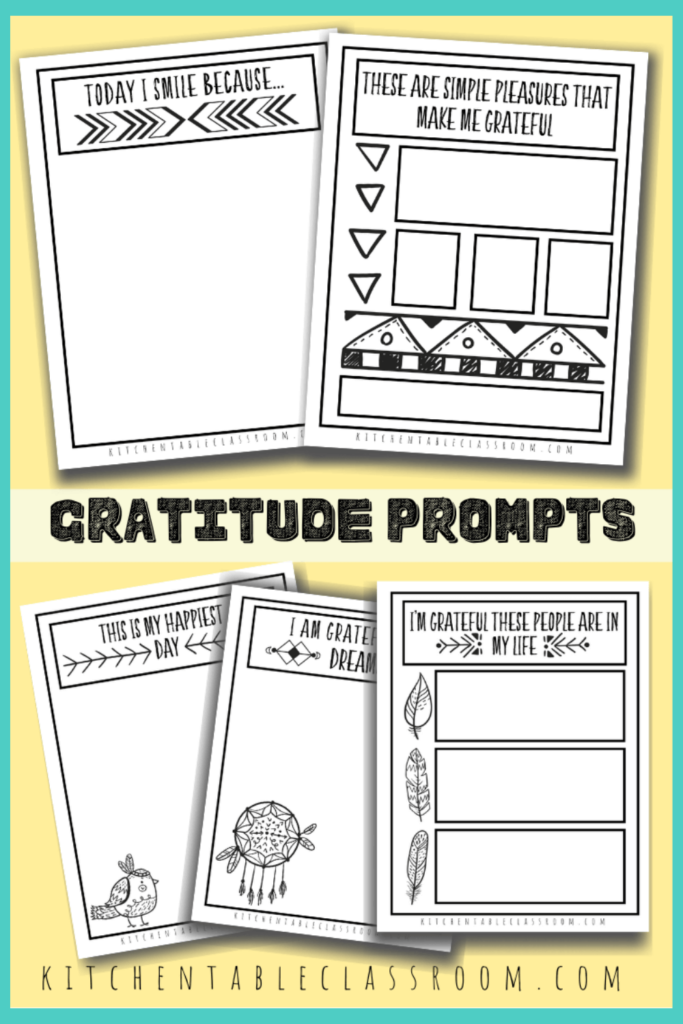 Printable writing prompts for kids- gratitude prompts for kids