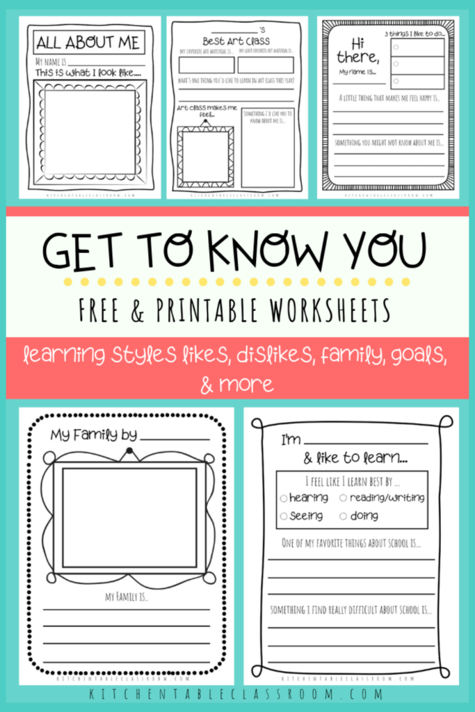 Printable writing prompts for kids- get to know you worksheets for kids