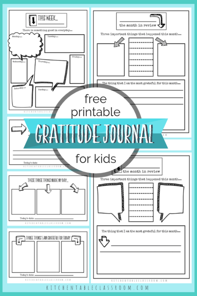 Printable writing prompts for kids- gratitude journal pages for kids