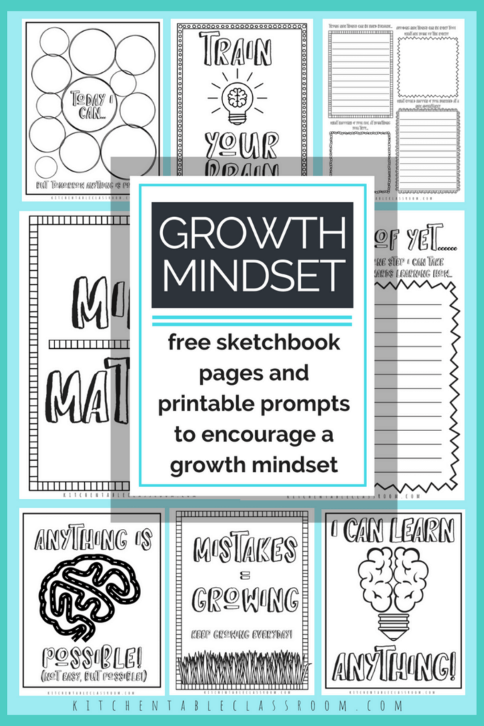 Printable writing prompts for kids- growth mindset sketchbook pages