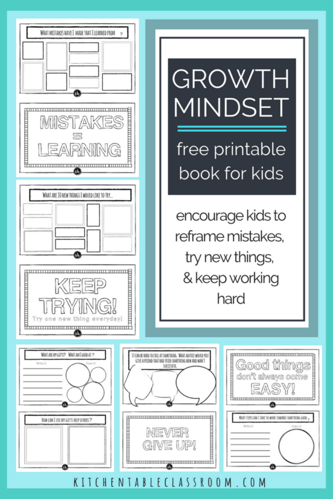 Printable writing prompts for kids- growth mindset book for kids