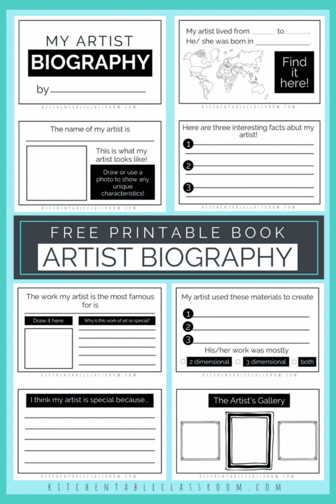 Printable writing prompts for kids- artist biography book