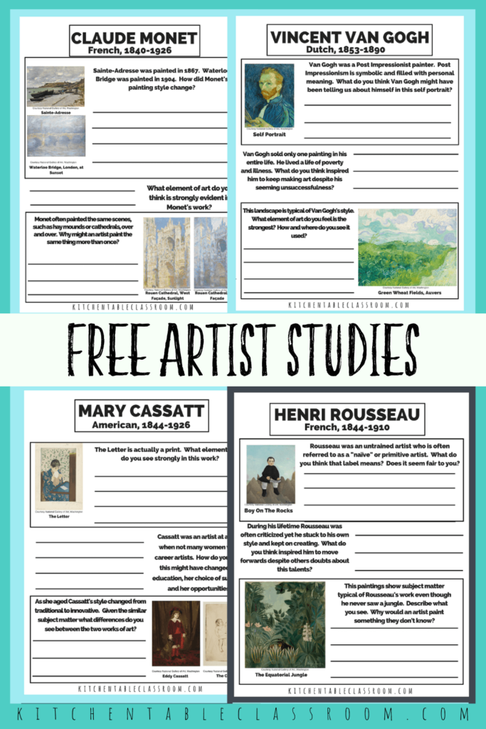 Printable writing prompts for kids- artists studies for Cassatt, Van Gogh, Rousseau, and Monet