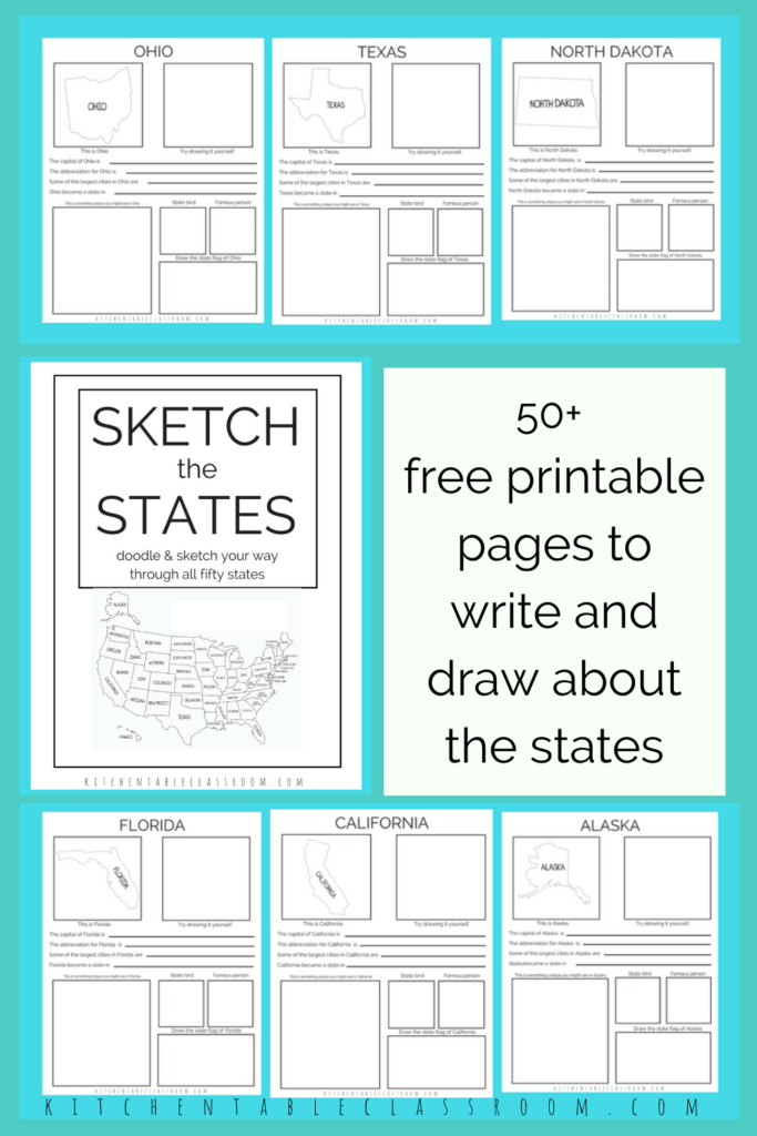 Printable writing prompts for kids- printable book about the fifty states
