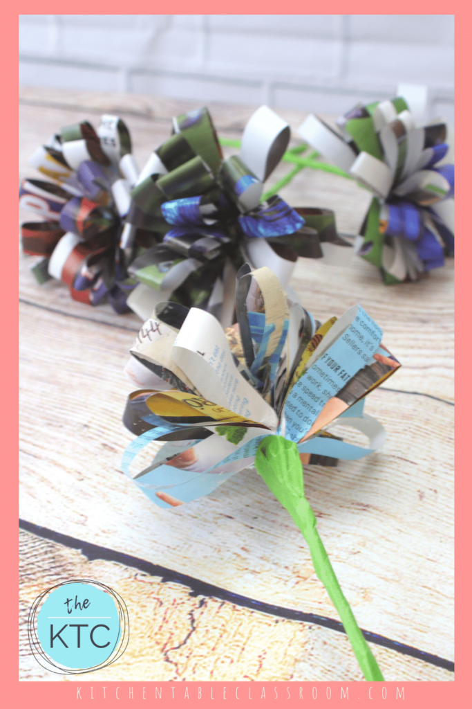 DIY paper flowers made from magazine pages