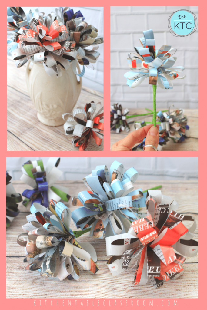 Easy paper flower made from up-cycled magazine pages