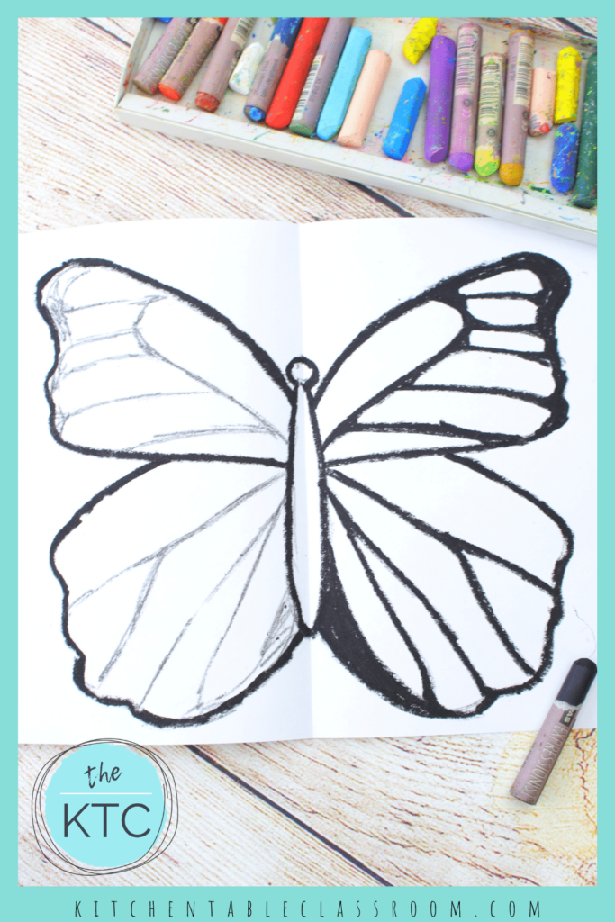Add veins and patterns to the wings of your butterfly drawing.