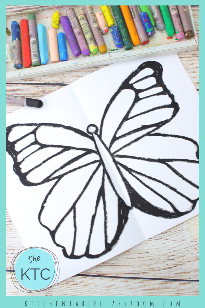 Oil pastel butterfly drawing makes a great resist pattern for panting over with watercolors.