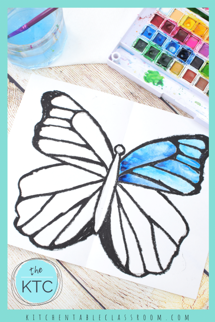Blue morpho butterfly watercolor painting for kids