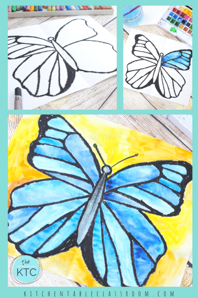 Watercolor butterfly painting lesson for kids with free video lesson