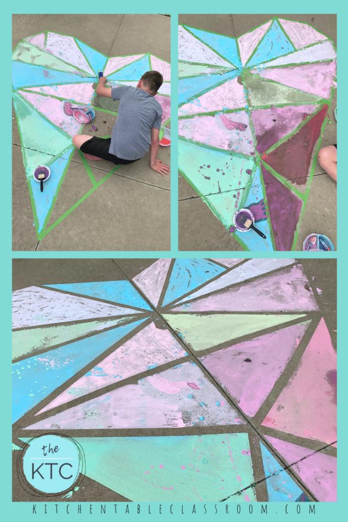 sidewalk chalk paint mural, easy heart art for sidewalk