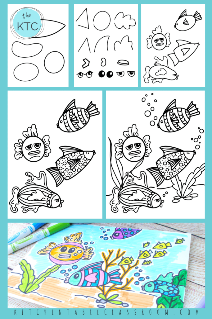 Combine simple shapes and lines for an endless combination of fun fish drawings.