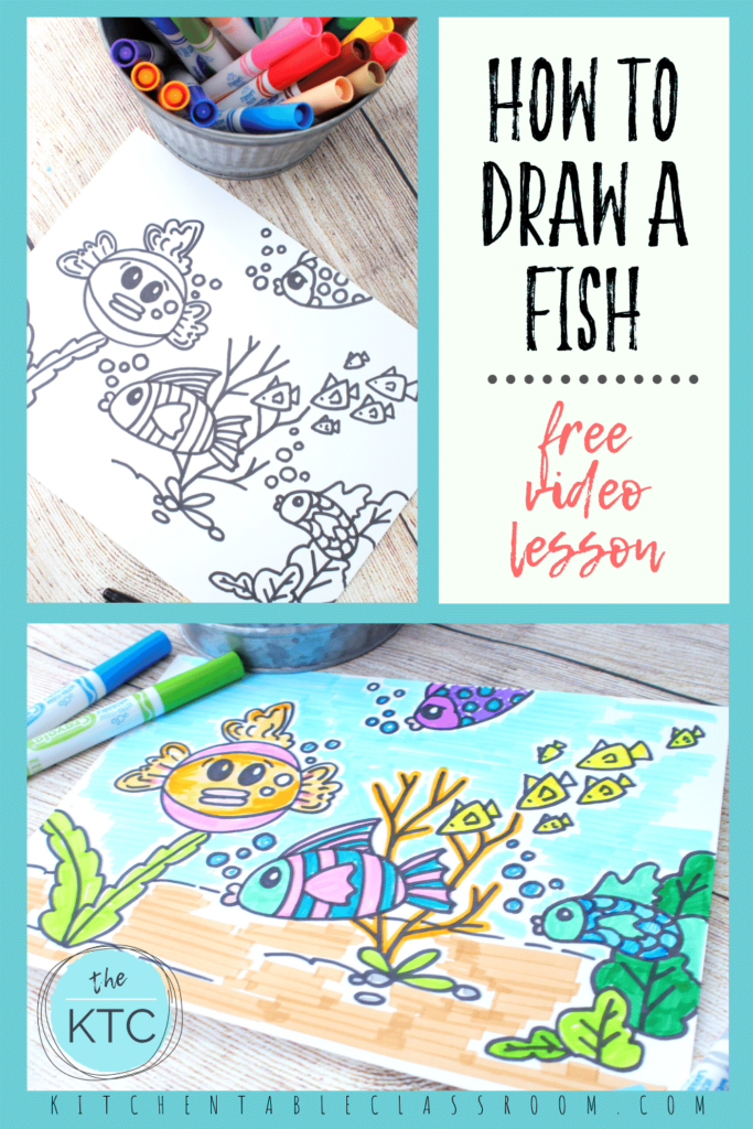 Learn how to draw a fish underwater scene