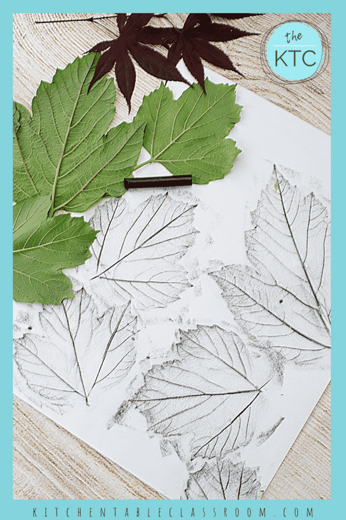 easy leaf rubbing art done with crayons