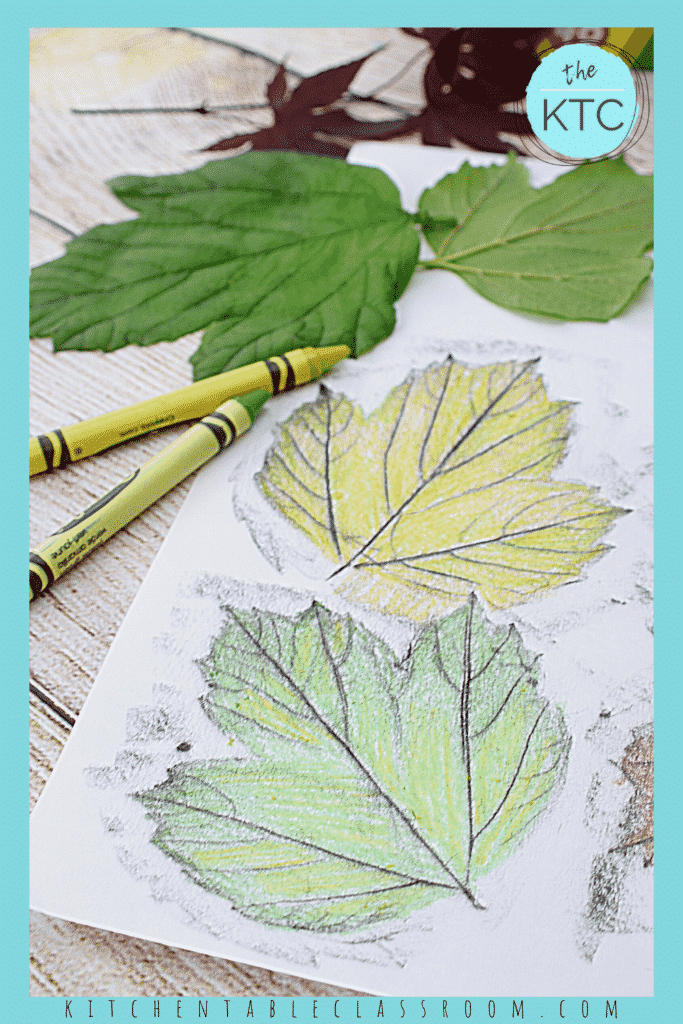 leaf rubbing art with crayons