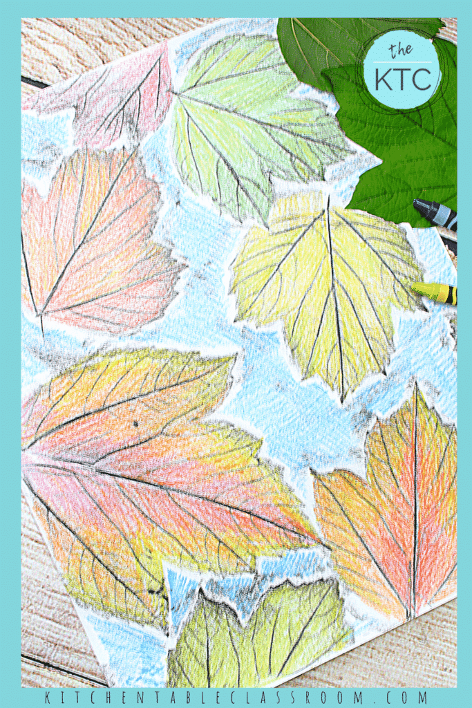 colorful leaf rubbing art done with crayon