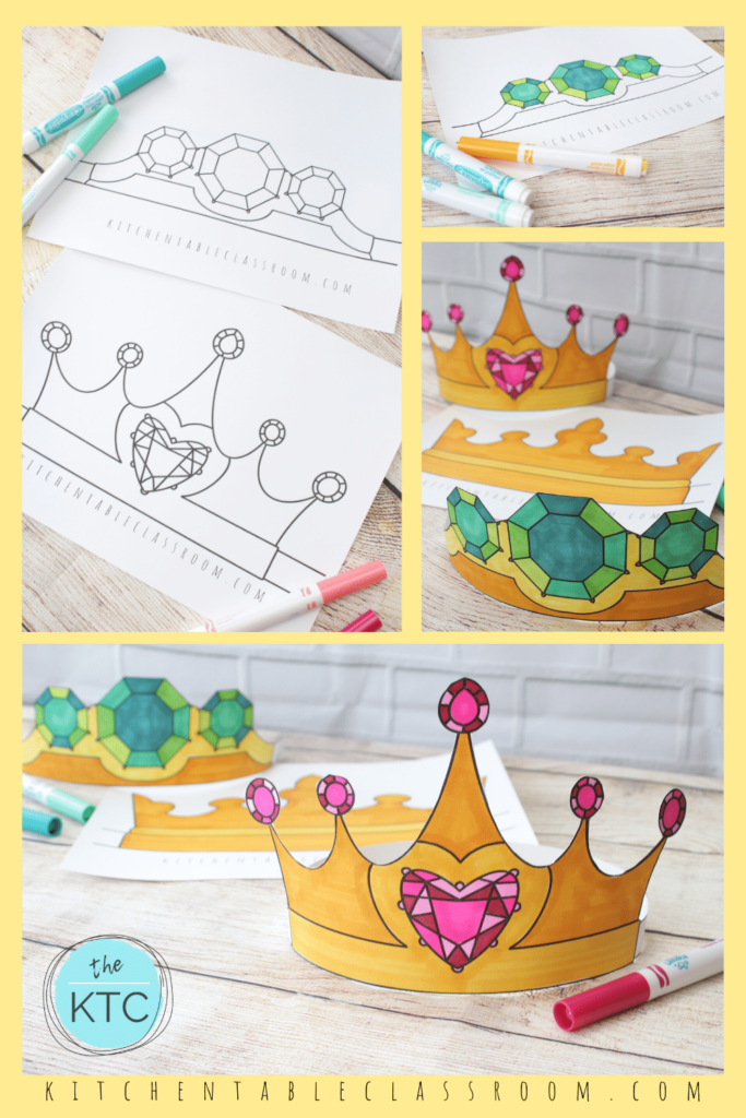 Printable crowns templates to color and wear