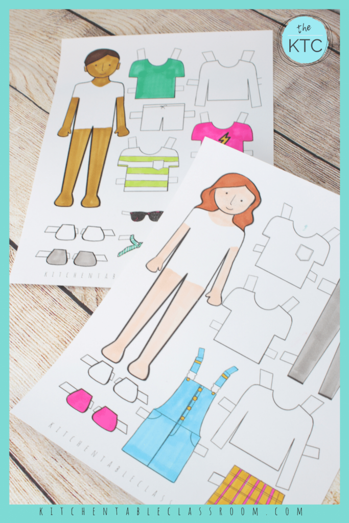 color your own paper doll templates- boy and girl dolls to color