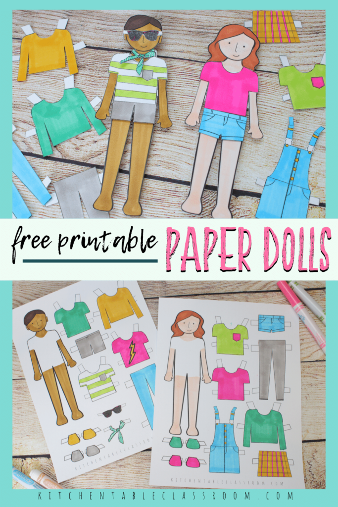 free printable paper doll templates to color- boy paper doll and girl paper doll