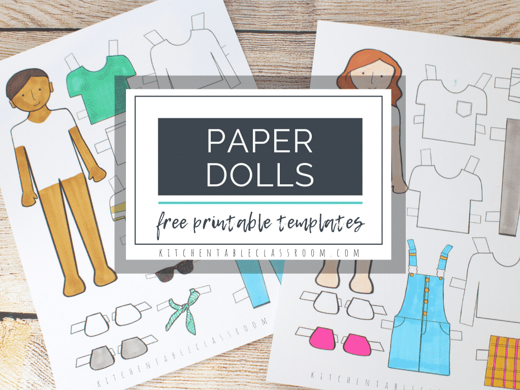 Printable Paper Doll Templates Color And Play The Kitchen Table Classroom