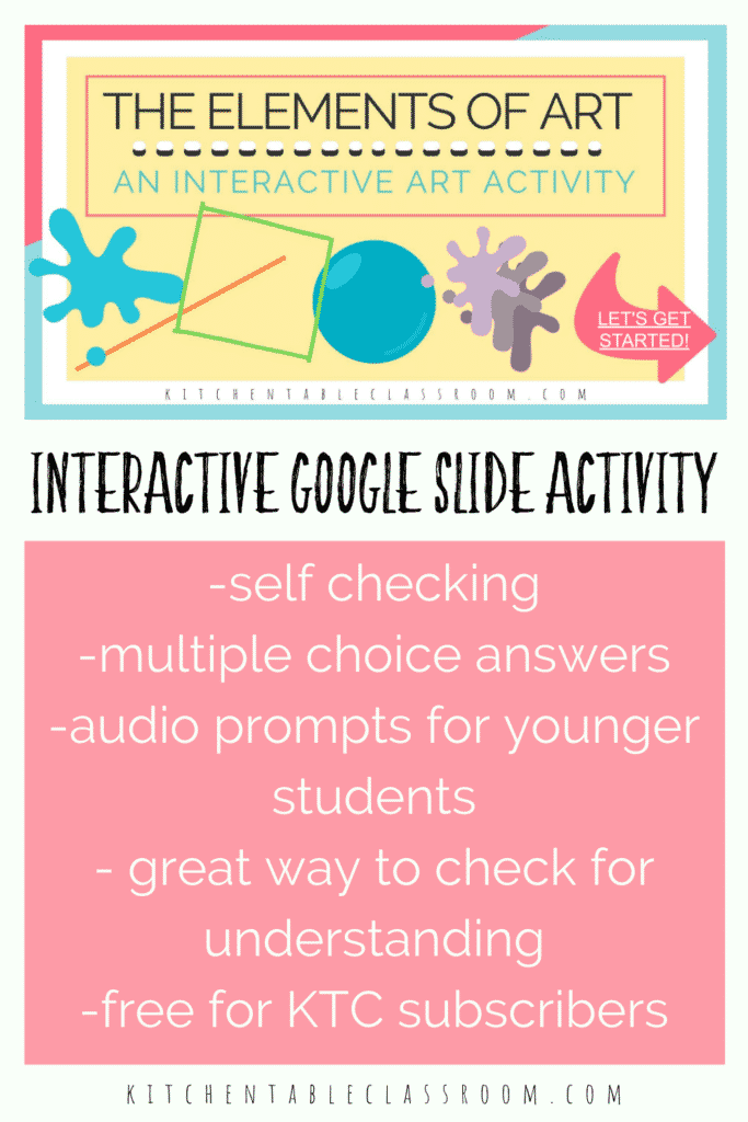interactive art activity for Google slides