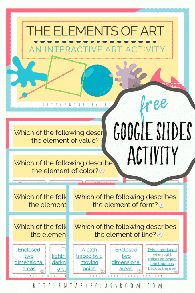 Google Slides activity to explore the elements of art with elementary students