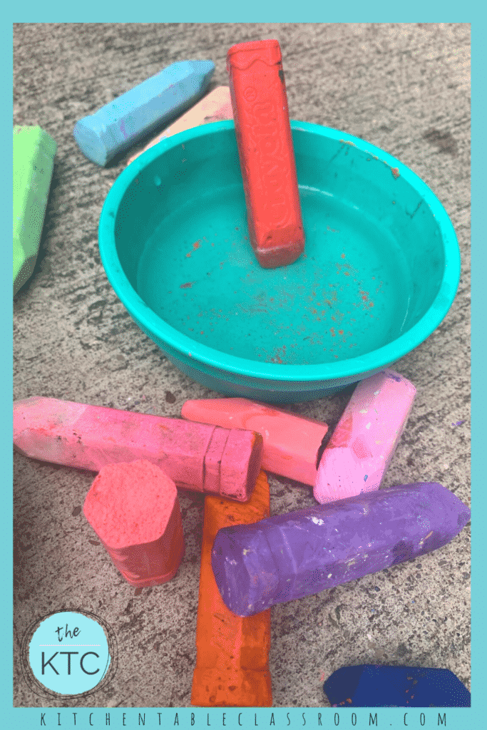 Dip sidewalk chalk in water for a vibrant new drawing experience.