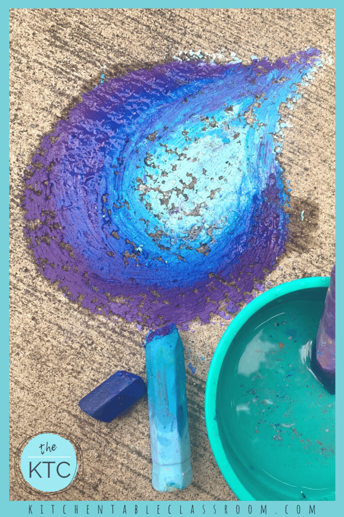Draw with sidewalk chalk and water for a vibrant new experience.