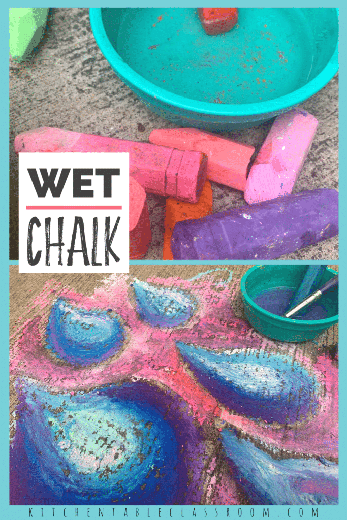 Try a new drawing technique with this sidewalk chalk and water drawing.