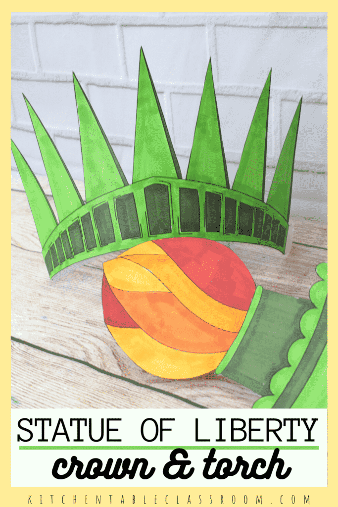 This printable Statue of Liberty crown and torch or ready for your kids to color and play!