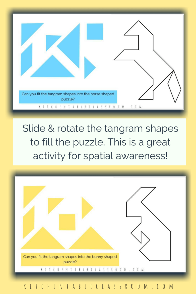 horse tangram puzzle and bunny tangram puzzle