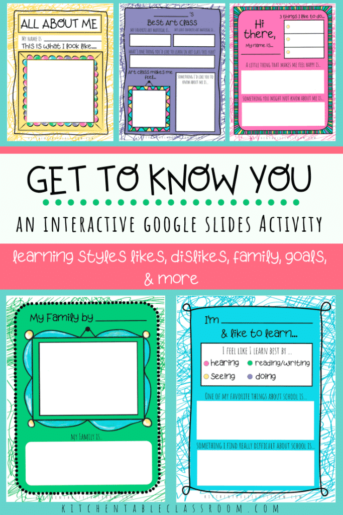 Use this fun interactive Google Slides activity to get to know your students as a fun back to school activity.